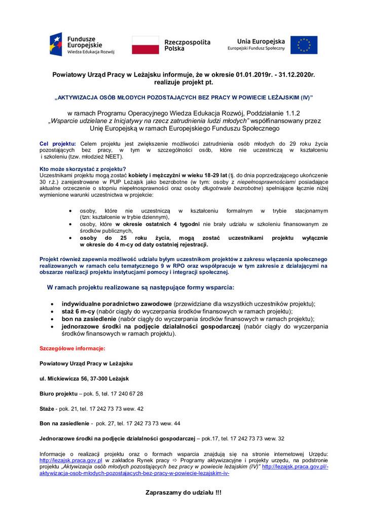 20_11_2019 Informacja dot. projektu Aktywizacja osób młodych pozostających bez pracy w powiecie leżajskim (IV).jpeg