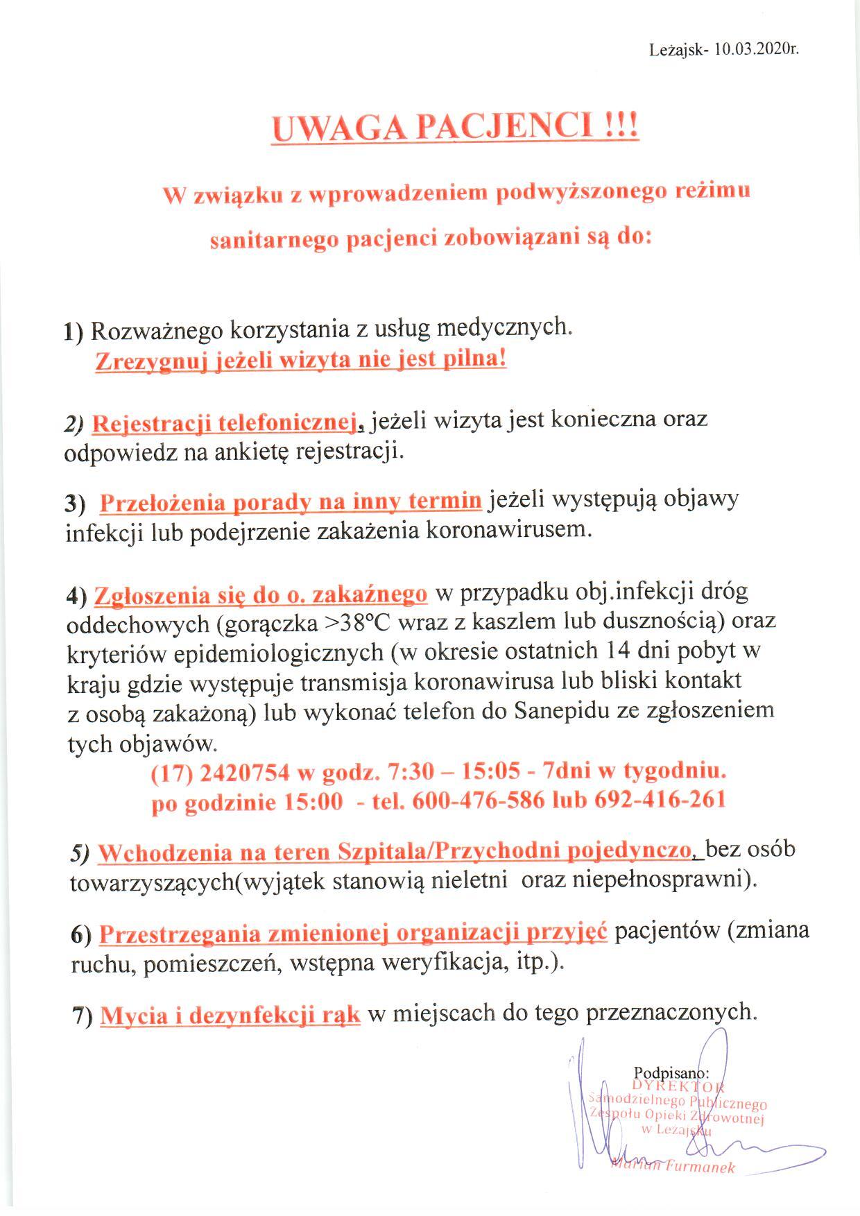 Komunikat Dyrektora Samodzielnego Publicznego Zespołu Opieki Zdrowotnej w Leżajsku 10.03.2020.jpeg